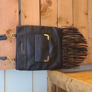 BEBE Black Fringe Shoulder Bag